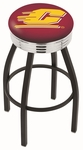 Central Michigan University 25'' Black Wrinkle Finish Swivel Backless Counter Height Stool with Ribbed Accent Ring [L8B3C25CENMIC-FS-HOB]