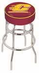 Central Michigan University 25'' Chrome Finish Double Ring Swivel Backless Counter Height Stool with 4'' Thick Seat [L7C125CENMIC-FS-HOB]