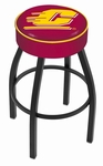 Central Michigan University 25'' Black Wrinkle Finish Swivel Backless Counter Height Stool with 4'' Thick Seat [L8B125CENMIC-FS-HOB]