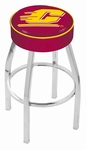 Central Michigan University 25'' Chrome Finish Swivel Backless Counter Height Stool with 4'' Thick Seat [L8C125CENMIC-FS-HOB]