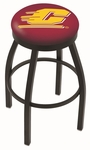 Central Michigan University 25'' Black Wrinkle Finish Swivel Backless Counter Height Stool with Accent Ring [L8B2B25CENMIC-FS-HOB]