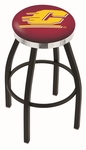 Central Michigan University 25'' Black Wrinkle Finish Swivel Backless Counter Height Stool with Chrome Accent Ring [L8B2C25CENMIC-FS-HOB]