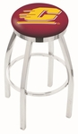 Central Michigan University 25'' Chrome Finish Swivel Backless Counter Height Stool with Accent Ring [L8C2C25CENMIC-FS-HOB]