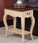 Favorite Finds 12.5''W x 24''H Two Tone French Countryside Style Chair Side Table with One Drawer and Display Shelf - Ivory and Oak [9018-IV-FS-LCK]