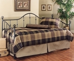 Chalet Metal Daybed Set with Suspension Deck and Globe Finials - Textured Black [11177DBLH-FS-HILL]