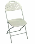 Champ Series 35''H Fanback Powder Coated Steel and Resin Folding Chair - Bright White [133003-MES]