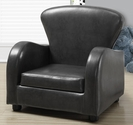 Juvenile Upholstered Faux Leather Cushioned Club Chair - Charcoal