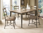 Charleston 5 Piece Dining Set with Rectangular Wood Table and 4 Ladder Back Chairs - Desert Tan [4670DTBRC5-FS-HILL]