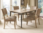 Charleston 5 Piece Dining Set with Rectangular Wood Table and 4 Parson Chairs - Desert Tan [4670DTBRC4-FS-HILL]