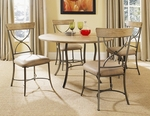 Charleston 5-Piece Round All Metal Base w/Wood Top and X-Back Chairs [4670DTBC2-FS-HILL]