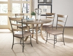 Charleston 5 Piece Dining Set with Round Table and 4 Ladder Back Chairs - Desert Tan [4670DTBWC5-FS-HILL]