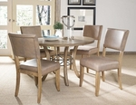 Charleston 5 Piece Dining Set with Round Wood Table and 4 Parson Chairs - Desert Tan [4670DTBWC4-FS-HILL]