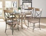 Charleston 5 Piece Dining Set with Round Wood Table and 4 ''X'' Back Chairs - Desert Tan [4670DTBWC2-FS-HILL]