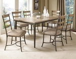 Charleston 7 Piece Dining Set with Rectangular Wood Table and 6 Ladder Back Chairs - Desert Tan [4670DTBRC57-FS-HILL]