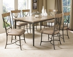 Charleston 7 Piece Dining Set with Rectangular Wood Table and 6 ''X'' Back Chairs - Desert Tan [4670DTBRC27-FS-HILL]