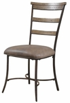 Charleston Metal 19''H Ladder Back Dining Chair with Brown Vinyl Seat - Set of 2 - Desert Tan [4670-805-FS-HILL]