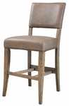 Charleston Wood Counter Height Parson Stool with Brown Vinyl Seat - Set of 2 - Desert Tan [4670-824-FS-HILL]