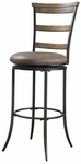 Charleston Metal Ladder Back 30'' Bar Height Stool with Brown Vinyl Swivel Seat - Desert Tan and Dark Gray [4670-832-FS-HILL]