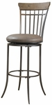 Charleston Metal Spindle Back 26'' Counter Height Stool with Putty Colored Vinyl Swivel Seat - Desert Tan and Dark Gray [4670-827-FS-HILL]