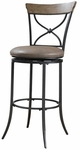 Charleston Metal ''X'' Back 30'' Bar Height Stool with Brown Vinyl Swivel Seat - Desert Tan and Dark Gray [4670-830-FS-HILL]