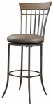 Charleston Metal Spindle Back 30'' Bar Height Stool with Brown Vinyl Swivel Seat - Desert Tan and Dark Gray [4670-831-FS-HILL]
