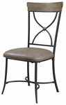 Charleston Metal ''X'' Back 19''H Dining Chair with Brown Vinyl Seat - Set of 2 - Desert Tan [4670-802-FS-HILL]