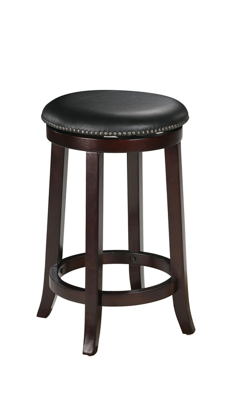 Chelsea Wood 24H Backless Swivel Bar Stool with Black  : chelsea wood 24 h backless swivel bar stool with black faux leather seat and nailhead trim set of 2 espresso 04732 fs acm 3 from www.bizchair.com size 472 x 800 jpeg 48kB