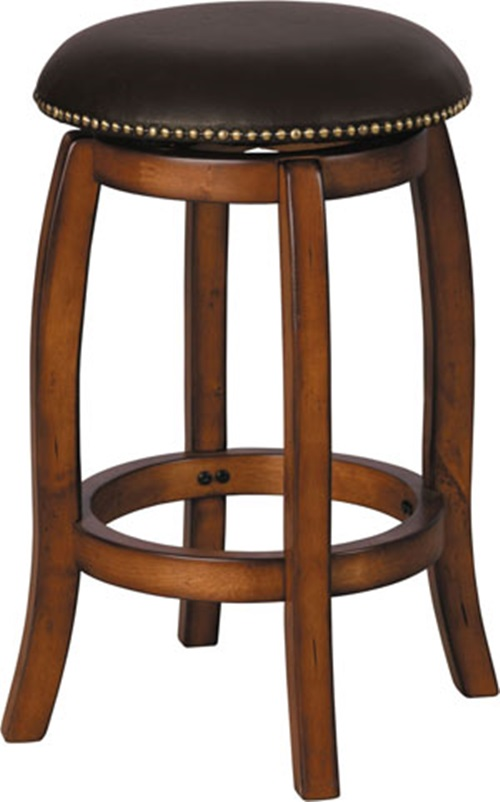 Chelsea Wood 24 H Backless Swivel Bar Stool With Nailhead