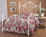 Cherie Metal Victorian Styled Bed Set with Rails - King - Ivory [381BKR-FS-HILL]