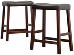 Cherry 24'' H Saddle Stool In Dark Brown Vinyl Cushion-Set Of 2 [5310C-24-3A-2PC-FS-HOM]