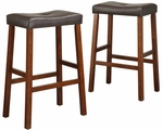 Cherry 29'' H Saddle Stool In Dark Brown Vinyl Cushion-Set Of 2 [5310C-29-3A-2PC-FS-HOM]