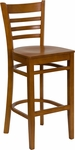 Cherry Finished Ladder Back Wooden Restaurant Barstool [BFDH-8241CC-BAR-TDR]