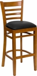 Cherry Finished Ladder Back Wooden Restaurant Barstool with Black Vinyl Seat [BFDH-8241CBK-BAR-TDR]