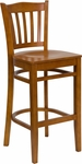 Cherry Finished Vertical Slat Back Wooden Restaurant Barstool [BFDH-8242CC-BAR-TDR]