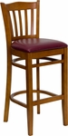 Cherry Finished Vertical Slat Back Wooden Restaurant Bar Stool with Burgundy Vinyl Seat [BFDH-8242CBY-BAR-TDR]