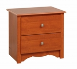 Monterey 2 Drawer 21.75''H Nightstand with Brushed Nickel Knobs - Cherry [CDC-2422-FS-PP]