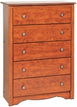 Monterey 5 Drawer 45.25''H Chest with Side Moldings and Pewter Finished Knobs - Cherry [CDC-3345-K-FS-PP]