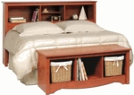 Monterey Full/Queen Size Bookcase Headboard with 3 Open Storage Compartments - Cherry [CSH-6643-FS-PP]
