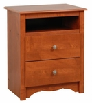 Monterey 2 Drawer 28''H Nightstand with Open Storage - Cherry [CDC-2428-FS-PP]