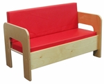 Children's Healthy Plywood Sofa with 2 Red Vinyl Reversible Cushions - Assembled - 30''W x 15.75''D x 20''H [31600-WDD]