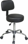 Work Smart Chrome Finish Vinyl Seat and Back Stool with Chrome Base and Casters - Black [ST235V-3-FS-OS]