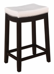 Claridge 24''H Counter Stool - Patches White [55815WHTPU-01-KD-U-FS-LIN]