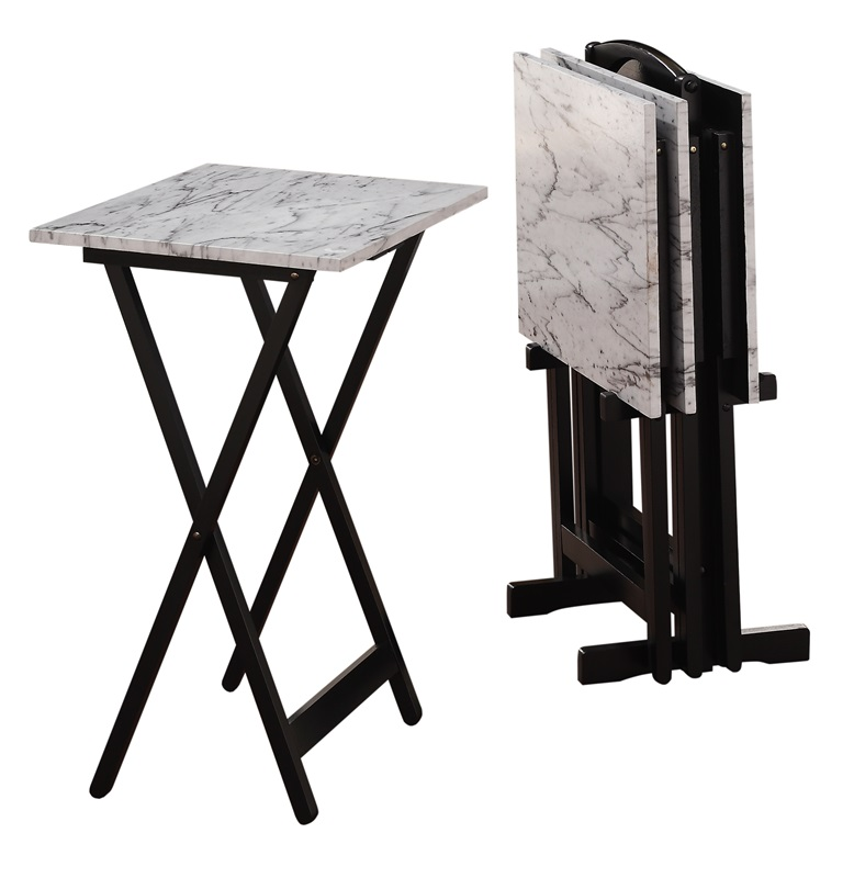 Classic 4 Piece White Faux Marble Tv Tray Set With Storage Stand Black 43001whtset 01 As By