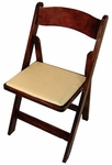 Classic Series 30.5''H Wood Folding Chair - Fruitwood - Tan Vinyl Seat Pad [111008-MES]