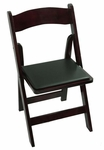 Classic Series 30.5''H Wood Folding Chair - Mahogany - Black Vinyl Seat Pad [111007-MES]