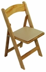 Classic Series 30.5''H Wood Folding Chair - Natural - Tan Vinyl Seat Pad [111004-MES]