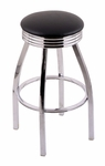 Classic 25'' Single Ring Chrome Finish Counter Height Swivel Stool with Black Vinyl and 2.5'' Ribbed Accent Ring Seat [C8C3C25BLKVINYL-FS-HOB]