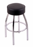 Classic 25'' Single Ring Chrome Finish Counter Height Swivel Stool with Black Vinyl Seat [C8C125BLKVINYL-FS-HOB]
