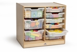 Clear Tray Double Storage Cabinet with Casters [WB7002-FS-WBR]