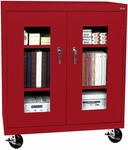See-Thru Series 36'' W x 18'' D x 48'' H Clear View Mobile Counter Height Cabinet - Red [TA2V-361842-01-EEL]